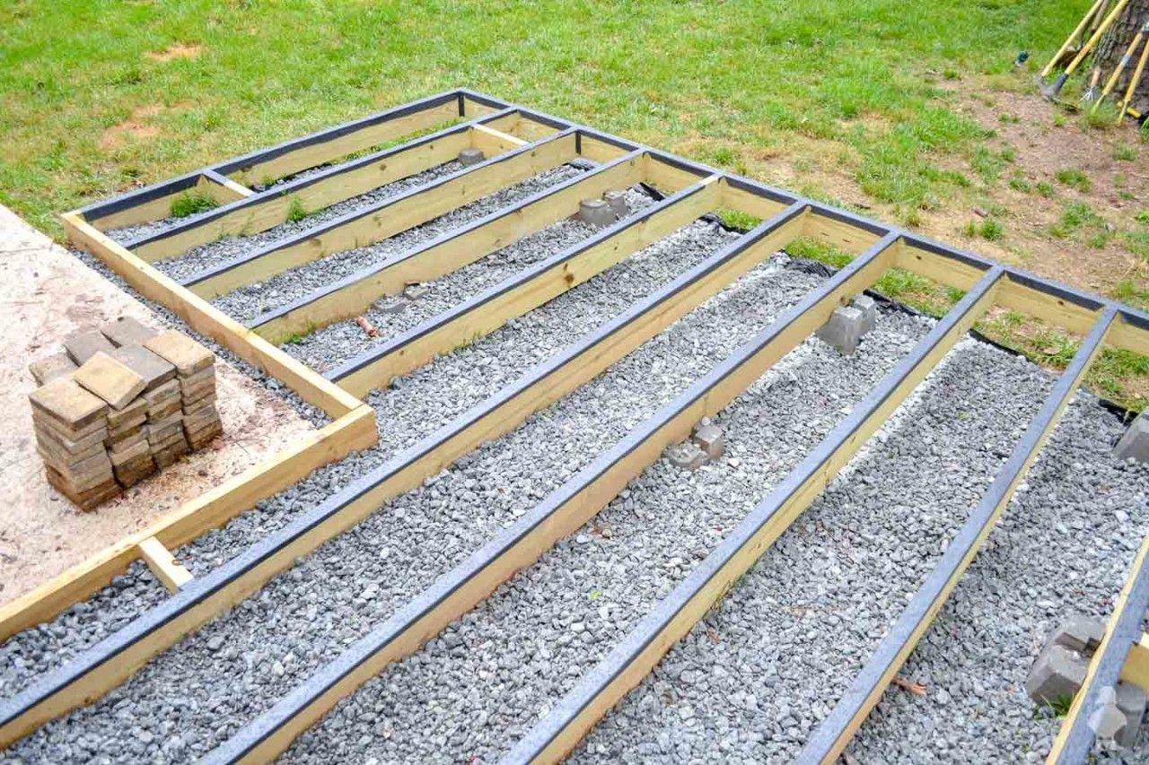 Diy Floating Deck Part 2 Frame Waterproofing Ground Level Deck Building A Deck Floating Deck