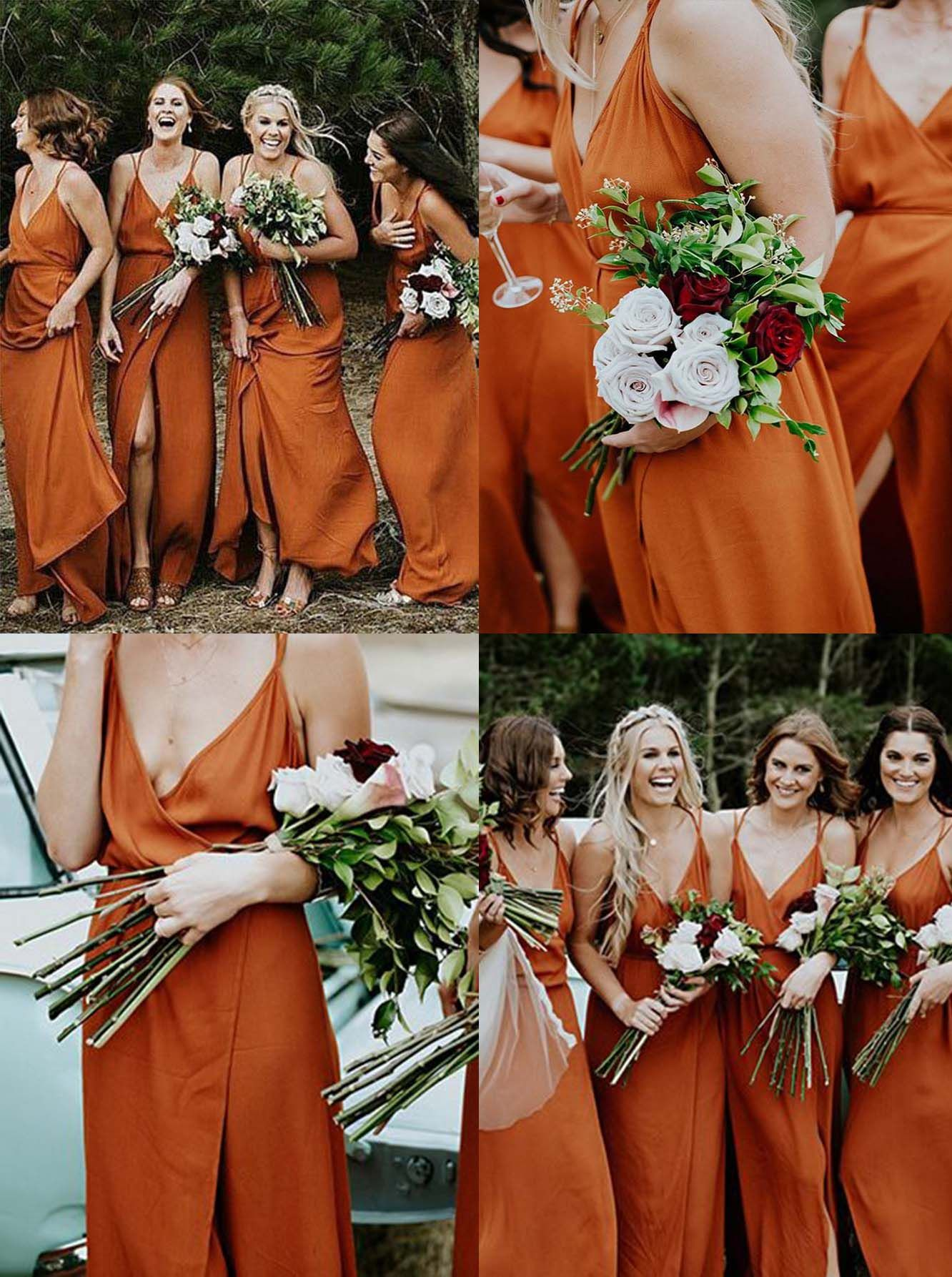 A Line V Neck Orange Chiffon Bridesmaid Dress With Split Orange Bridesmaid Dresses Orange Chiffon Bridesmaid Dress Burnt Orange Bridesmaid Dresses [ 1786 x 1332 Pixel ]