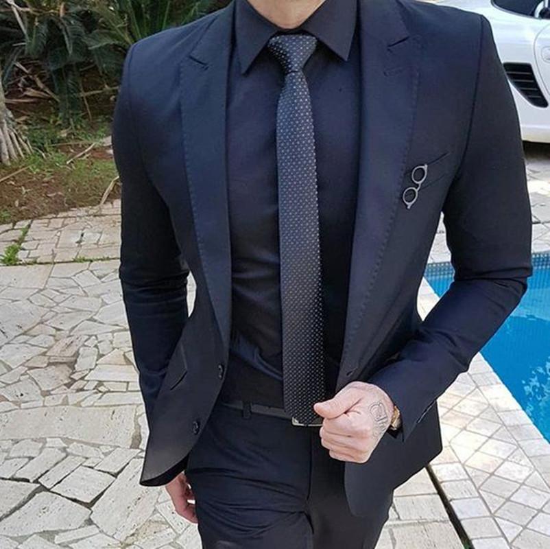 Navy Blue Customize Men Suits For Wedding 2Pieces Business Suit Blazer Peak Lapel Costume Homme Terno Party Suits(jacket+pant)