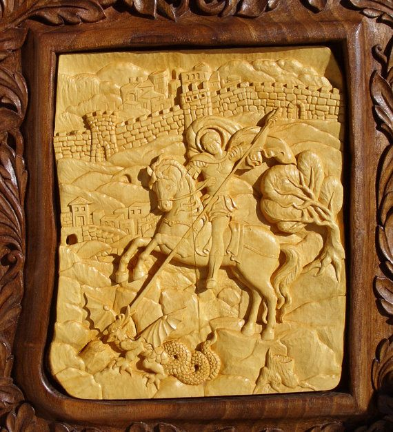 Saint George, art wood carvings, Orthodox Christian religious icon ...