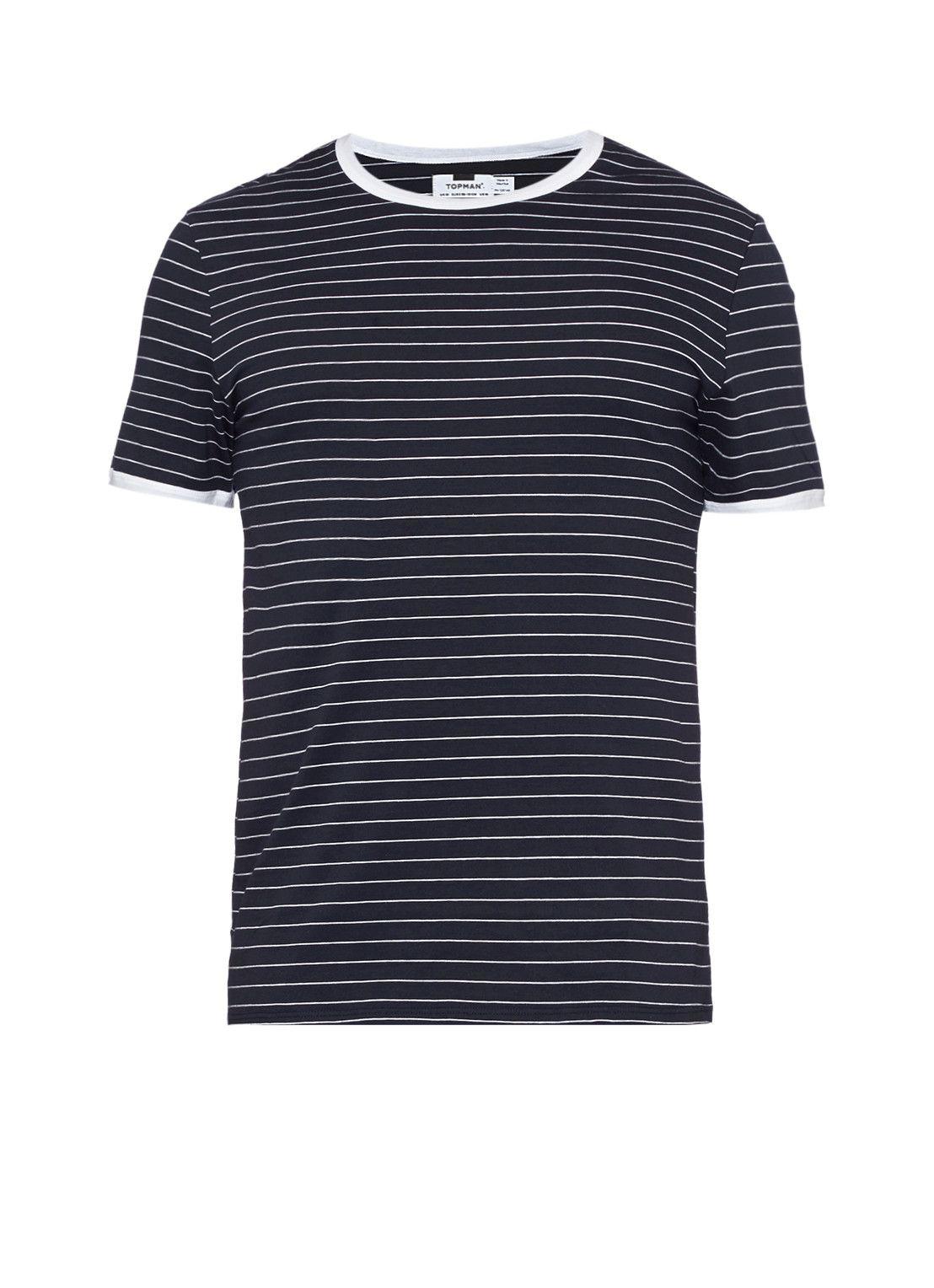 TOPMAN Gestreept T-shirt in donkerblauw • de Bijenkorf