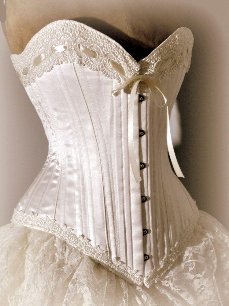 Ivory Wedding Dress Silk Corset And Bustle Skirt Victorian Weddings 2 300 00 Via Etsy Vintage Dresses Wedding Dresses Corset Dresses
