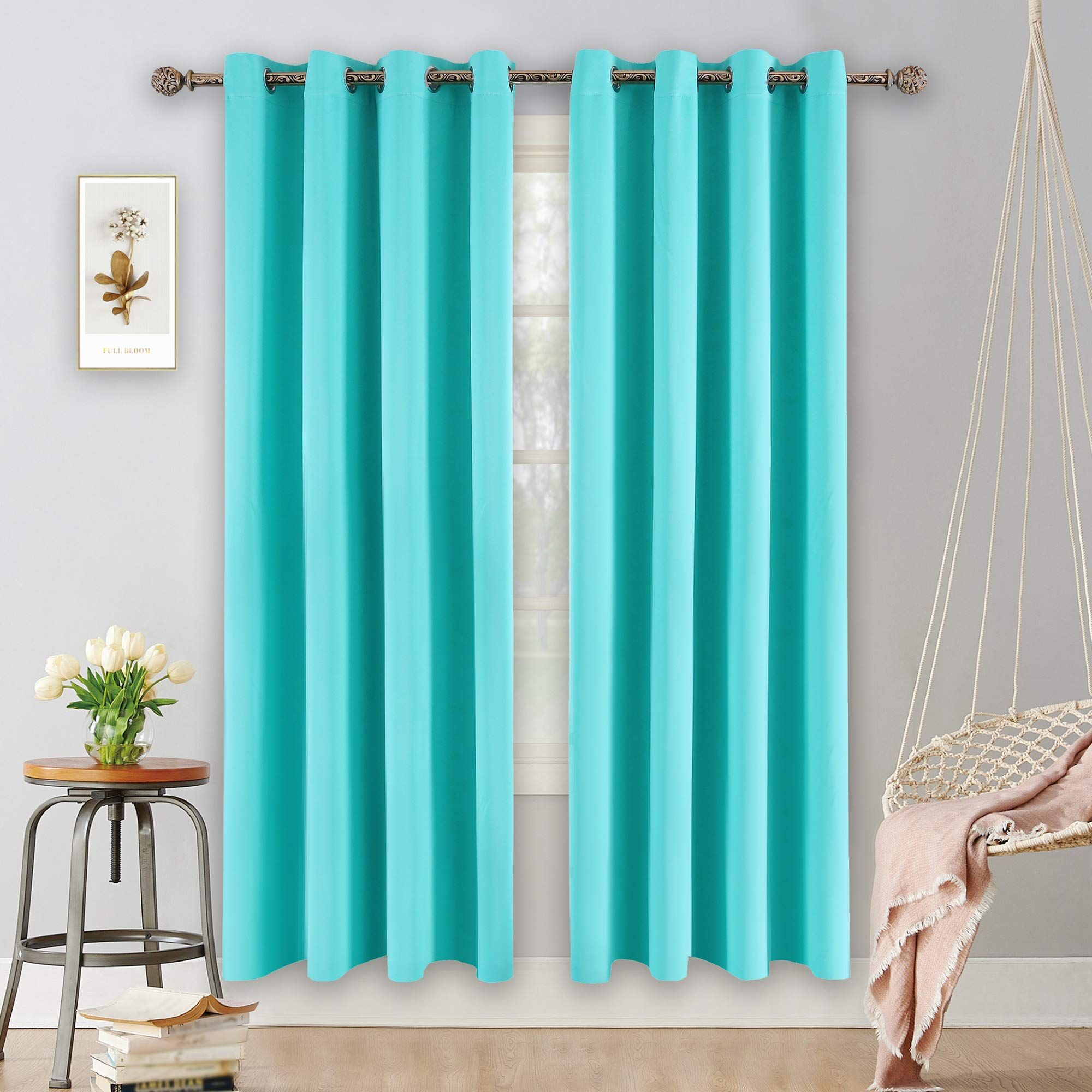 Ygo Turquoise Curtains For Bedroom Living Room Thermal Insulated Innovated M In 2020 Insulated Curtains Insulated Blackout Curtains Thermal Insulated Blackout Curtains