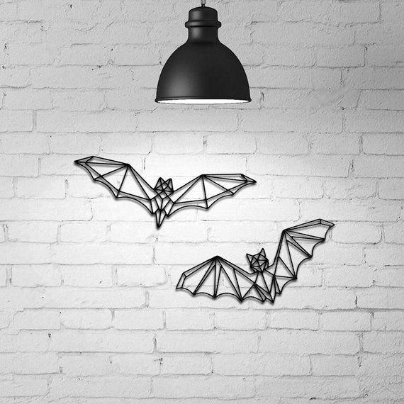 Photo of Bat Wall Gothic Decor, Halloween Wall Hanging, 3D Wall Decor, Geometric Bat Wall art, Helloween Bat, Wire Wall art, Bat wall decor, Gothic