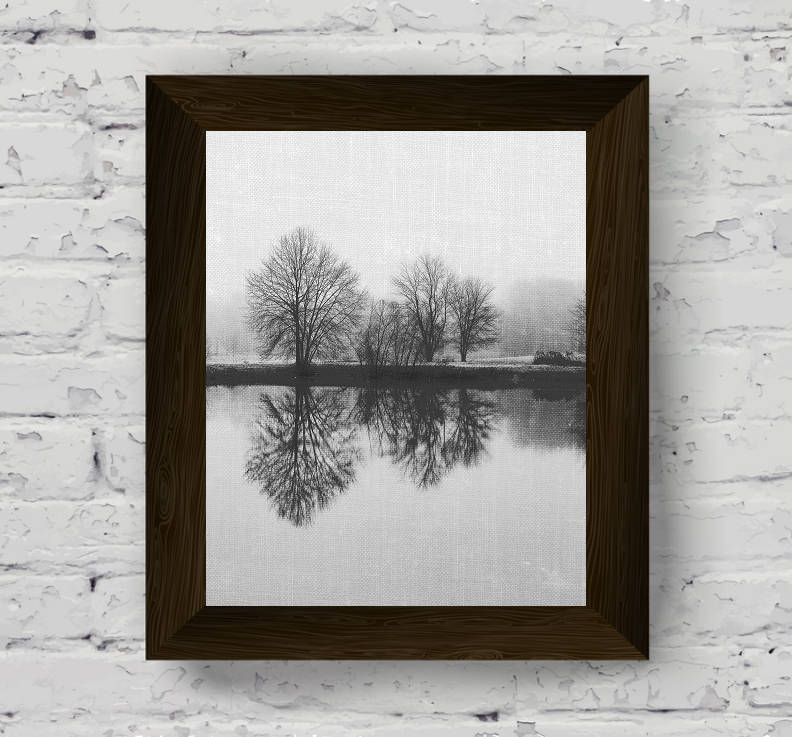 Lake wall art black white prints landscape photo nature poster lake print