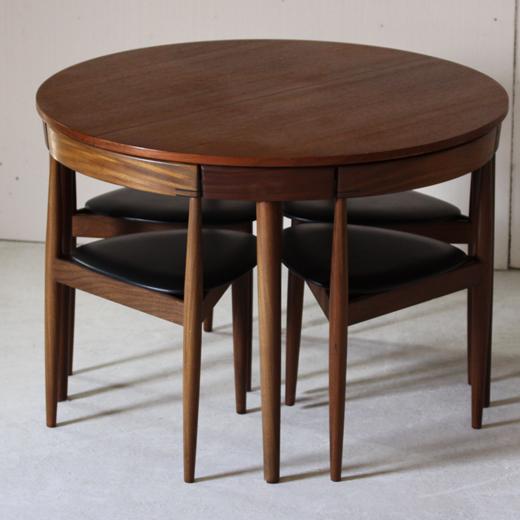Hans Olsen Table Ronde Extensible Et 4 Chaises Tripodes 1953 Dessinee Par Le Designer Danois Hans O Table Ronde Extensible Table Ronde Rallonge Table Ronde