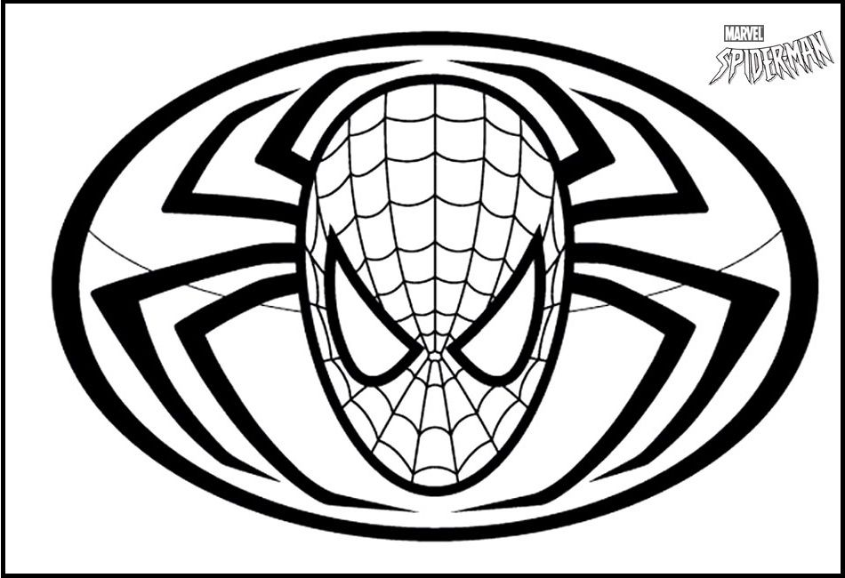 Spiderman Face And Logo Coloring Picture For Kids Spiderman