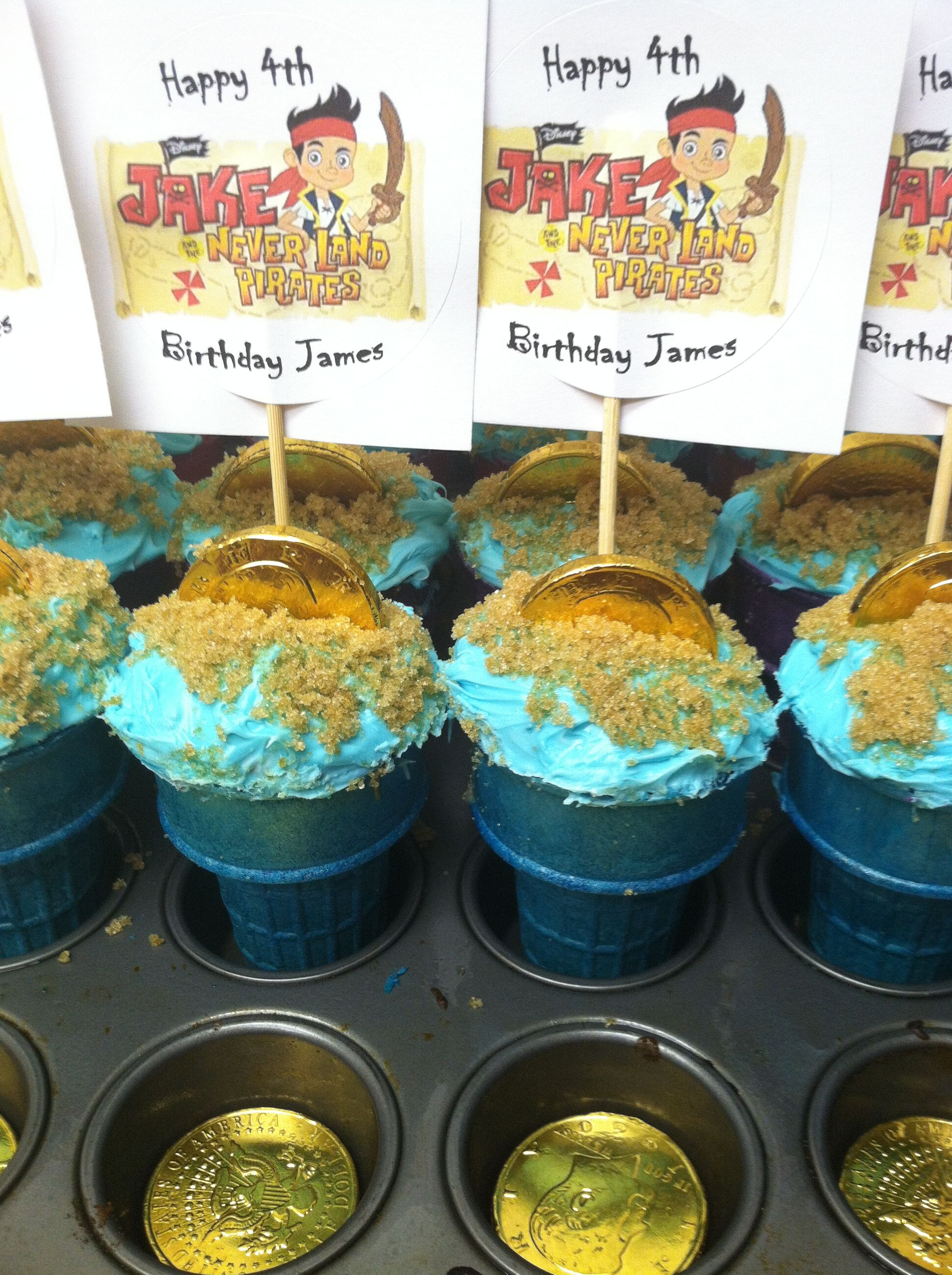 Tremendous My Cupcakes For James Jake And The Neverland Pirates 4Th Birthday Funny Birthday Cards Online Inifofree Goldxyz