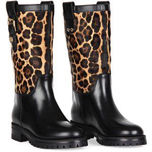 Dolce & Gabbana Leopard Block Heel Tall Boots qFR1Z9nu