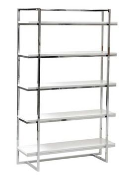 Gilbert-5 Shelf Unit (White Lacquer/Chrome) - Bookcases & Shelves by BOHO Furniture Gallery