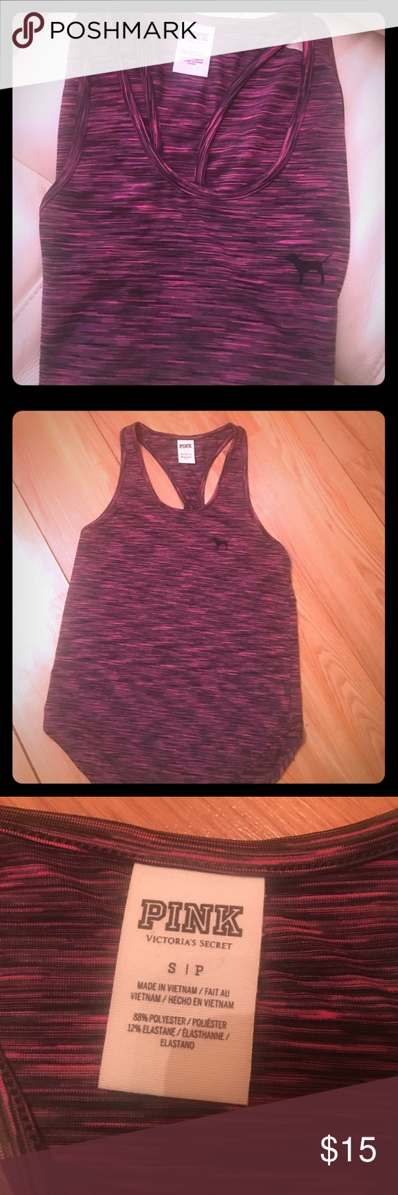 VS PINK workout racerback tank Victoria's Secret PINK racer back tank top with pink dog logo. Can use for yoga or working out or everyday casual wear.  Perfect condition :) PINK Victoria's Secret Tops Tank Tops