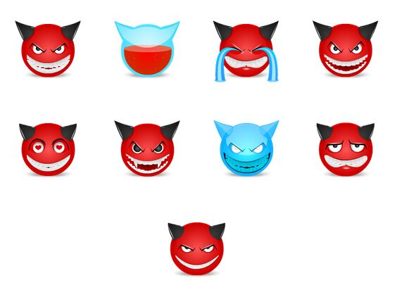 Devil facial expressions Avatar PNG icons 128x128px