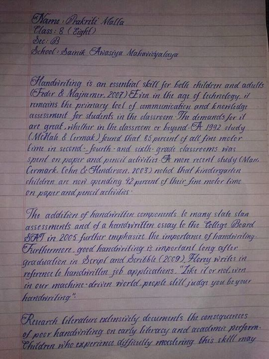 This Is The Handwriting Of An 8th Std Student Named Prakriti Malla Selected As Best In India