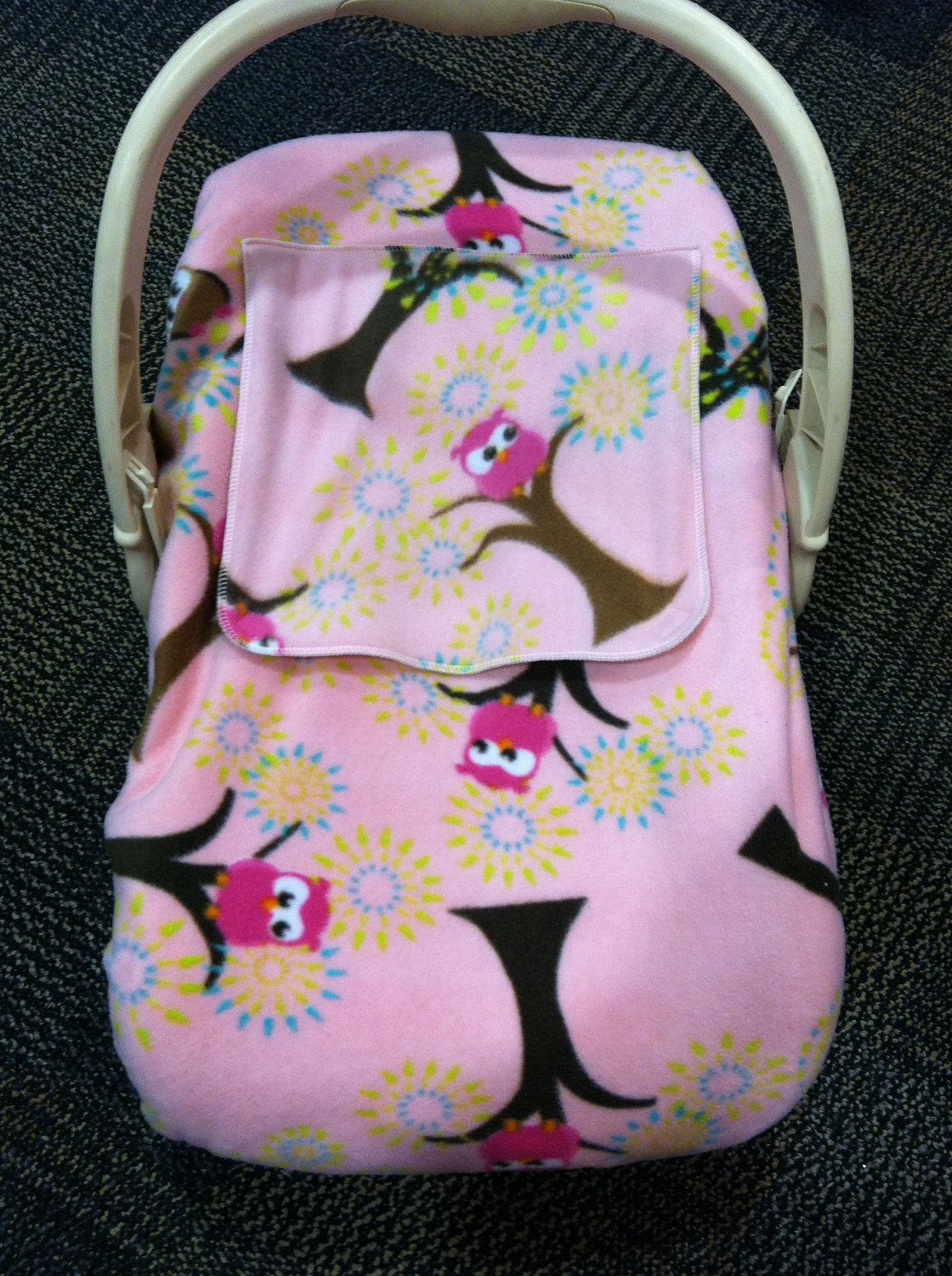 Another Possible Idea For A Car Seat Cover Pattern If We Dont Get One At The Shower Pink Hooty Owl Fleece 2500 Via Etsy
