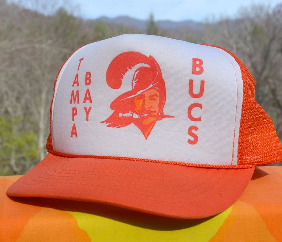 b32b1923 80s vintage BUCS baseball cap tampa bay buccaneers nfl football foam ...