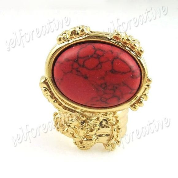 ARTY VINTAGE STYLE RING IN RED TURQUOISE PRODUCT FEATURES  Quantity:  1 Piece   Ring Size:  US Size 5.5, Diameter 16 mm                     US Size 6.5, Diameter 17 mm                     US Size 8, Diameter 18 mm  Material:  Gold tone alloy, Natural Turquoise  Package:   1 x New Perfect Item with PP Bag  Care Instructions:   Please avoid direct contact with perfume,sprays or immersing in water. A polishing cloth will help maintain the beautiful finish. Jewelry Rings