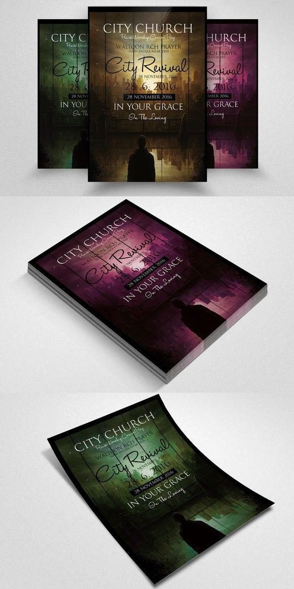 The City Revival Church Flyer Flyer Poster Template Magazine Cover Design