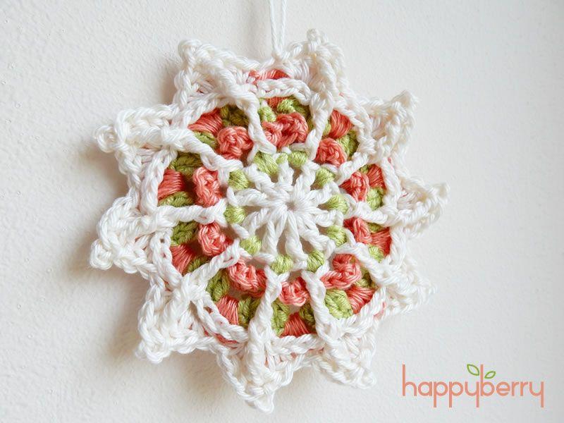 Peaceful Mandala Star Motif For Wink (Marinke) By Laura Eccleston - Free Crochet Pattern - (happyberrycrochet.blogspot)