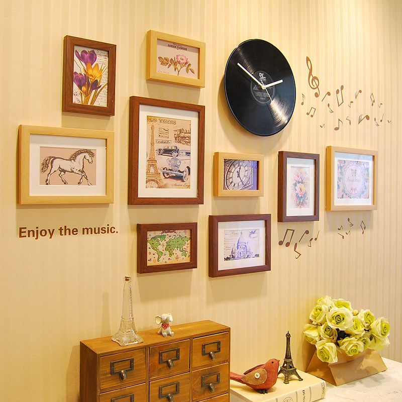 set of 9 plastic wall art picture photo frames collage with music ...