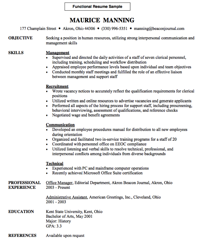 Functional Resume Template Functional Resume Sample  Httpresumesdesignfunctional