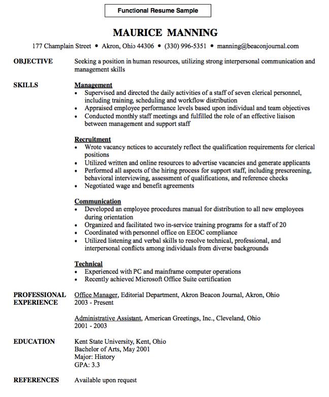 Functional Resume Sample FREE RESUME SAMPLE Functional