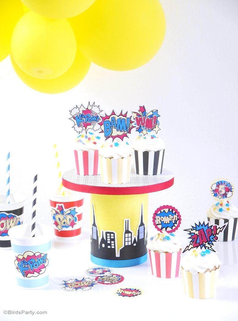 DIY Superhero Birthday Cupcake Stand | Cupcake stands, Superhero and ...