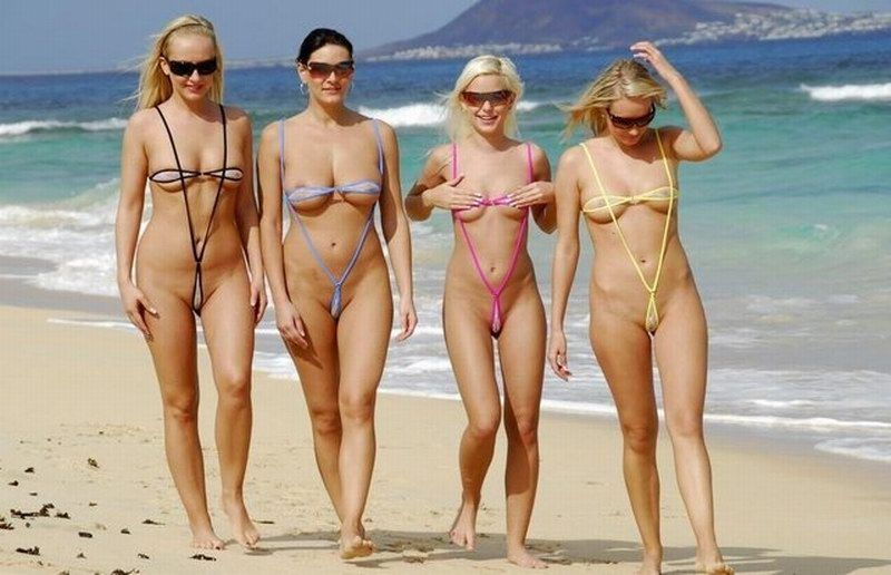 Micro Bikinis On The Beach