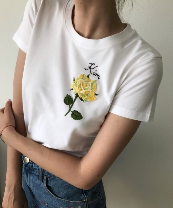 1fd9ec879fe1 Rose hand embroidered t-shirt, Unusual Floral embroidery shirt, Custom embroidery  tee, Personalized