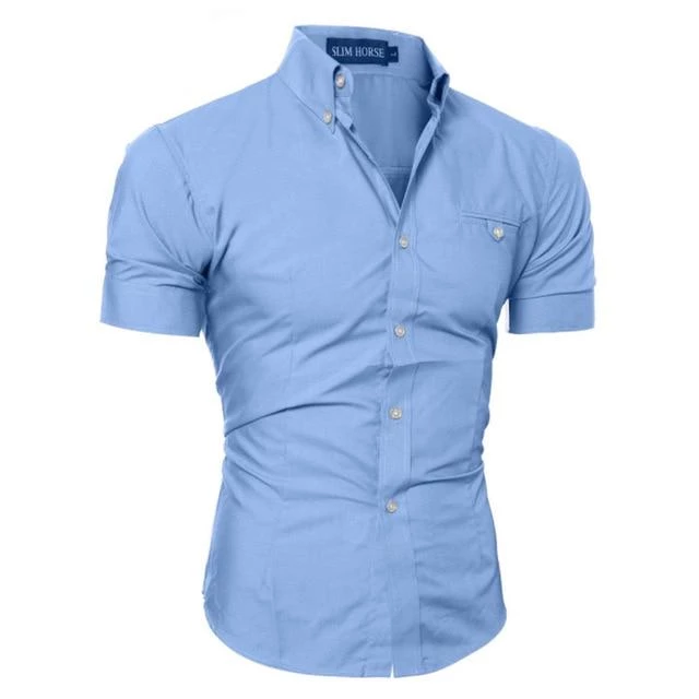 NEW Mens Slim Fit Business Short Sleeve T-Shirt Casual Formal Dress Shirts Tops