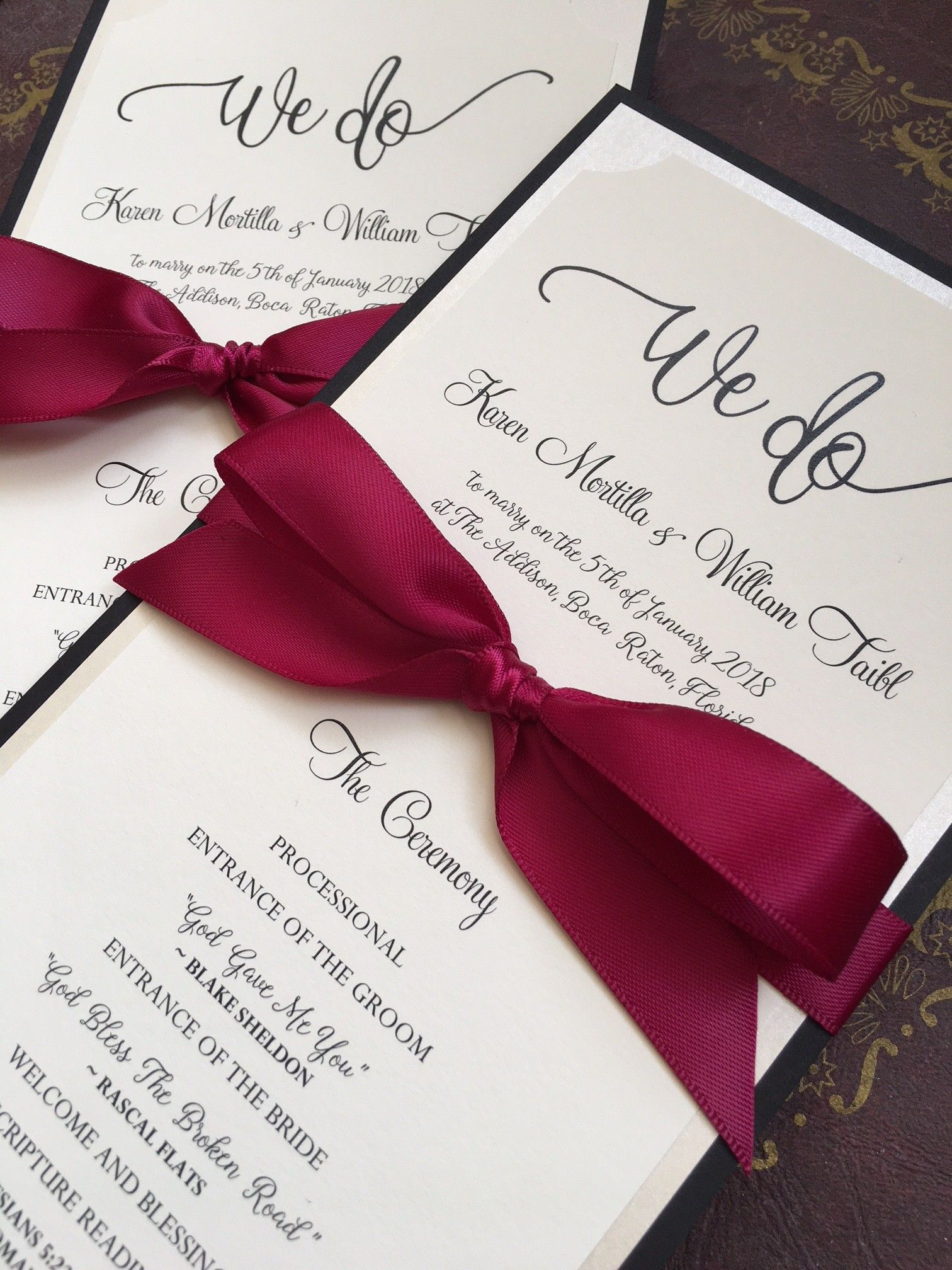 Karen & Bill\'s wedding programs in lush burgundy, champagne and ...