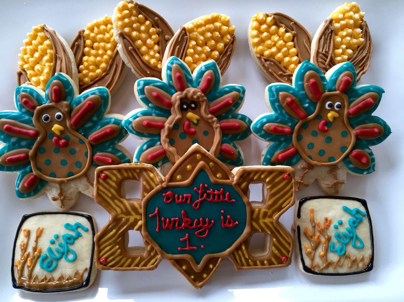 Eli's 1st birthday cookie set!  Our Little Turkey