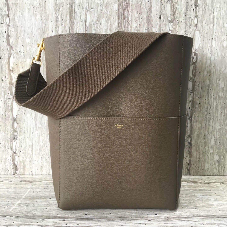 Celine sangle bucket bag in soft grained calfskin grey