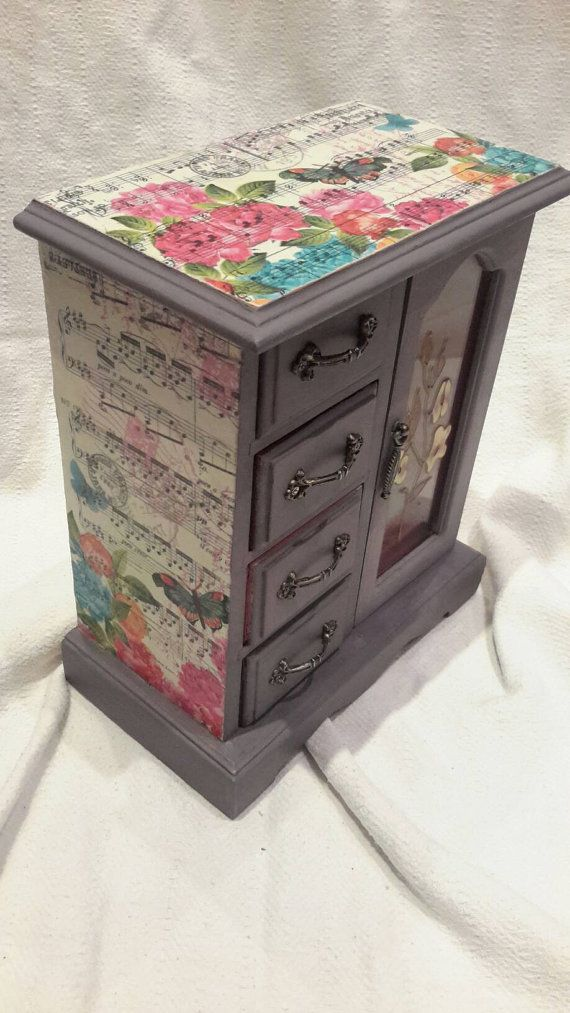 Shabby chic jewellery box purple girls butterfly childrens upcycled