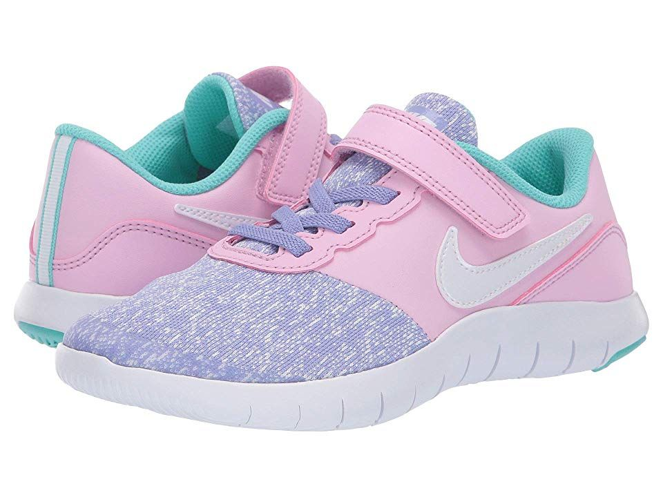 ecbdd4af4978c Nike Kids Flex Contact (Little Kid) Girls Shoes Twilight Pulse White Light  Aqua