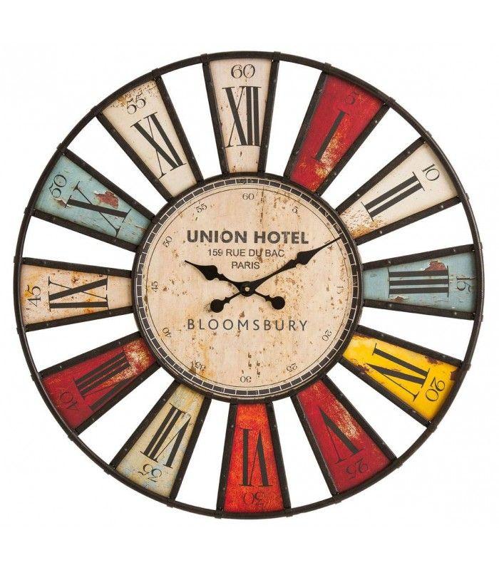 horloge murale bois et fer originale multicolore. Black Bedroom Furniture Sets. Home Design Ideas