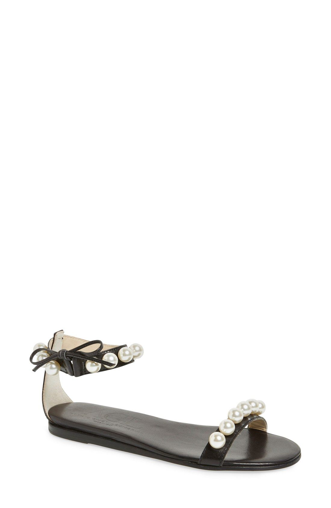AGL 'Pearl' Ankle Strap Flat Sandal (Women | Beaded sandals