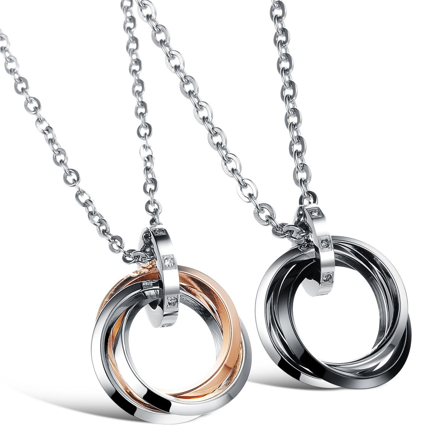 13eb8536c0 His And Hers Stainless Steel Rings Pendant Promise Couples Chain Necklace  Love