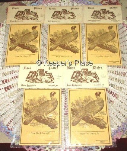 40 Vintage 1970's Gummed Bookplates Bird Pheasant by KeepersPlace