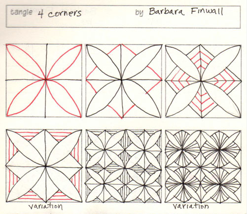 How to draw 4 CORNERS by Barbara Finwall « TanglePatterns.com