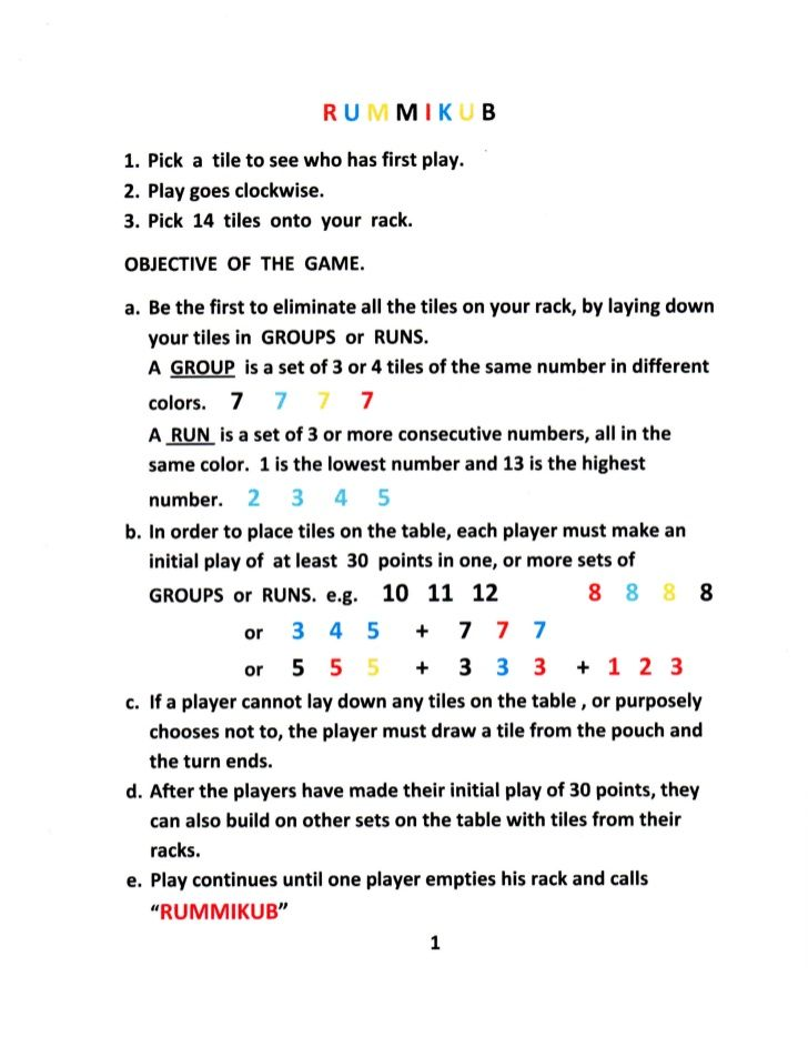 picture about Printable Rules for Hand and Foot Card Game referred to as Rummikub Guidance Activity Tips Household exciting game titles, Do-it-yourself