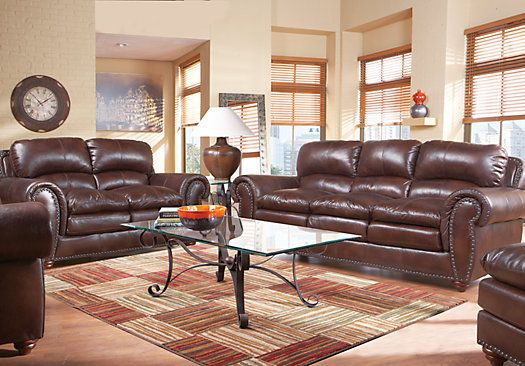 Hunter Place Brown 3Pc Classic Living Room Leather