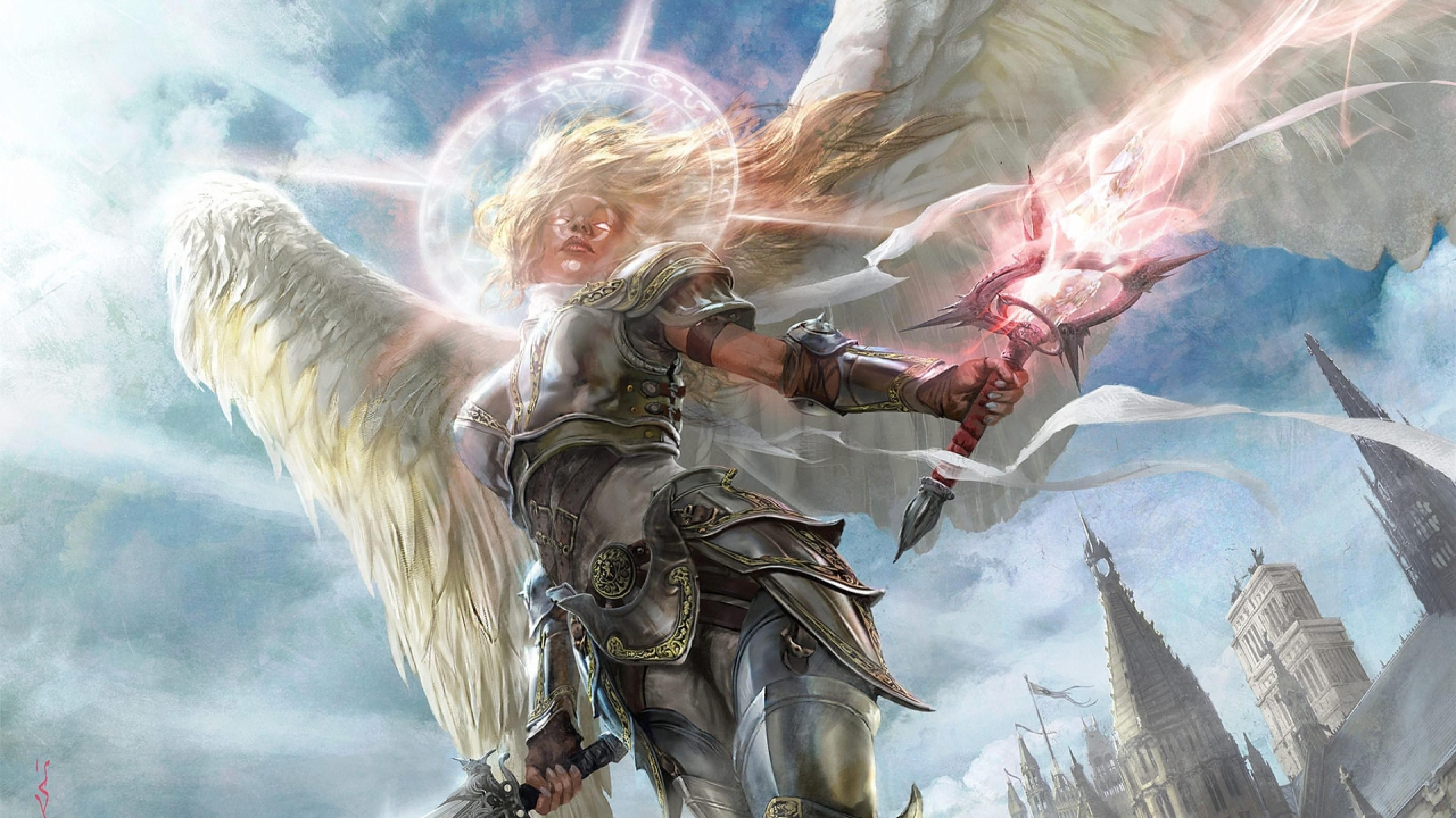Angel Magic Sword Halo Abstract 4k Angel Magic Sword Halo Abstract 4k Is An Hd Desktop Wallpaper Posted In Our Free Im Angel Art Angel Warrior Fantasy Artist