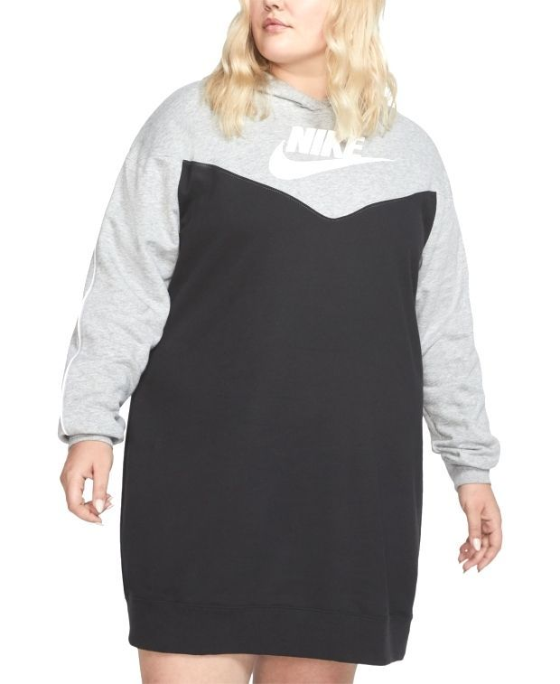 #Nike #Plus #Size  Nike Plus Size Heritage Colorblocked Hoodie Dress - Black/Gre... 1