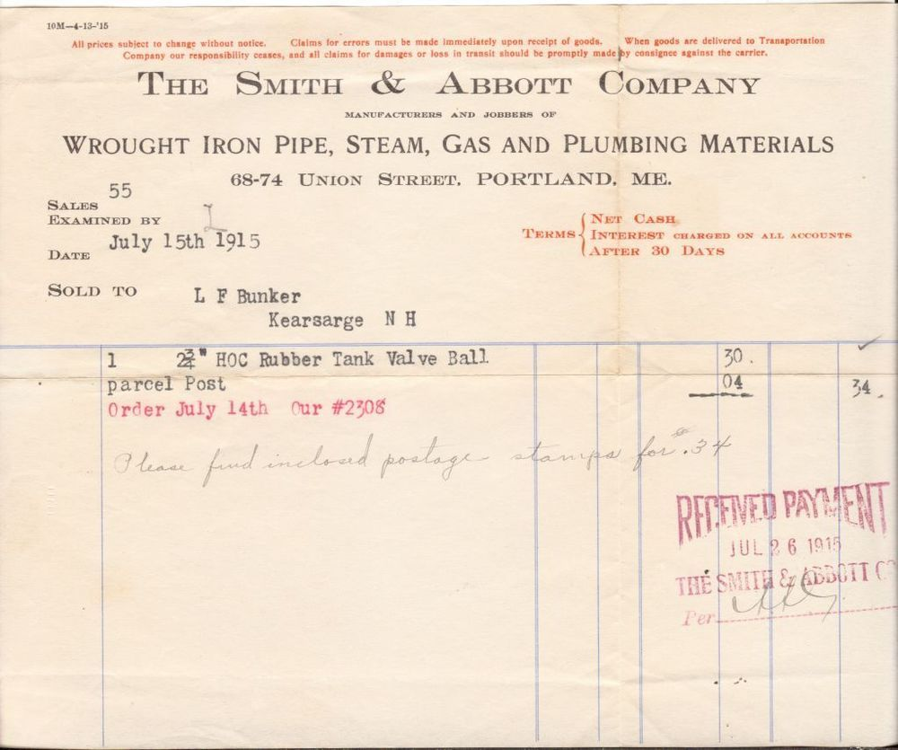 1915 Billhead Receipt Invoice Smith And Abbott Co Wrought Iron Pipe Plumbing  ME  Plumbing Receipt