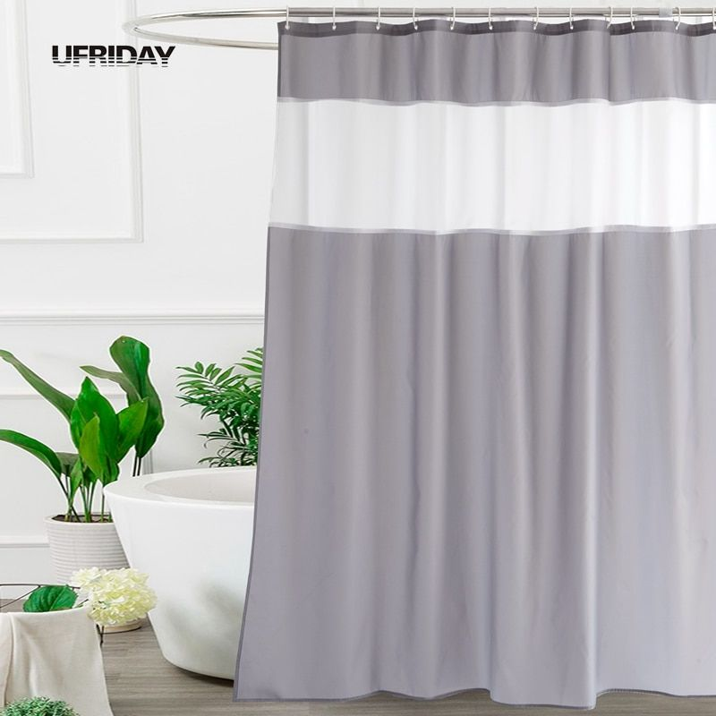 Ufriday Modern Mosaic Fabric Shower Curtain For Bathroom