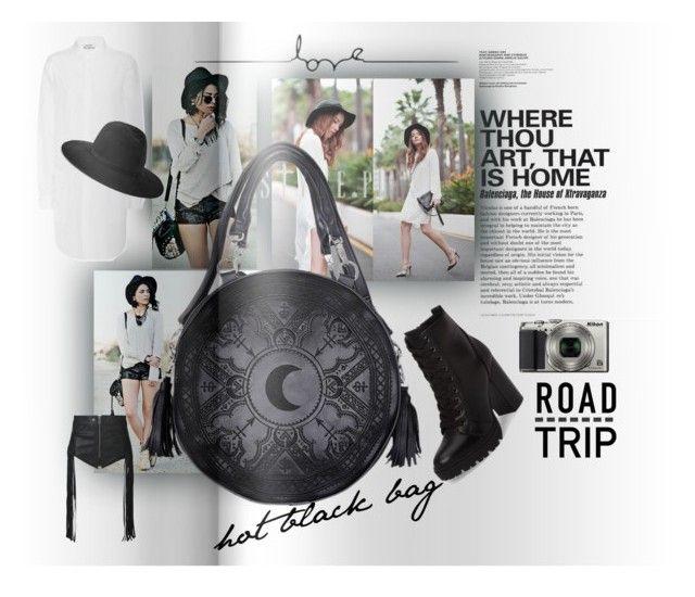 """hot black bag"" by caroline-buster-brown ❤ liked on Polyvore featuring Acne Studios, rag & bone, Steve Madden, Diesel, Nikon and favoritebag"