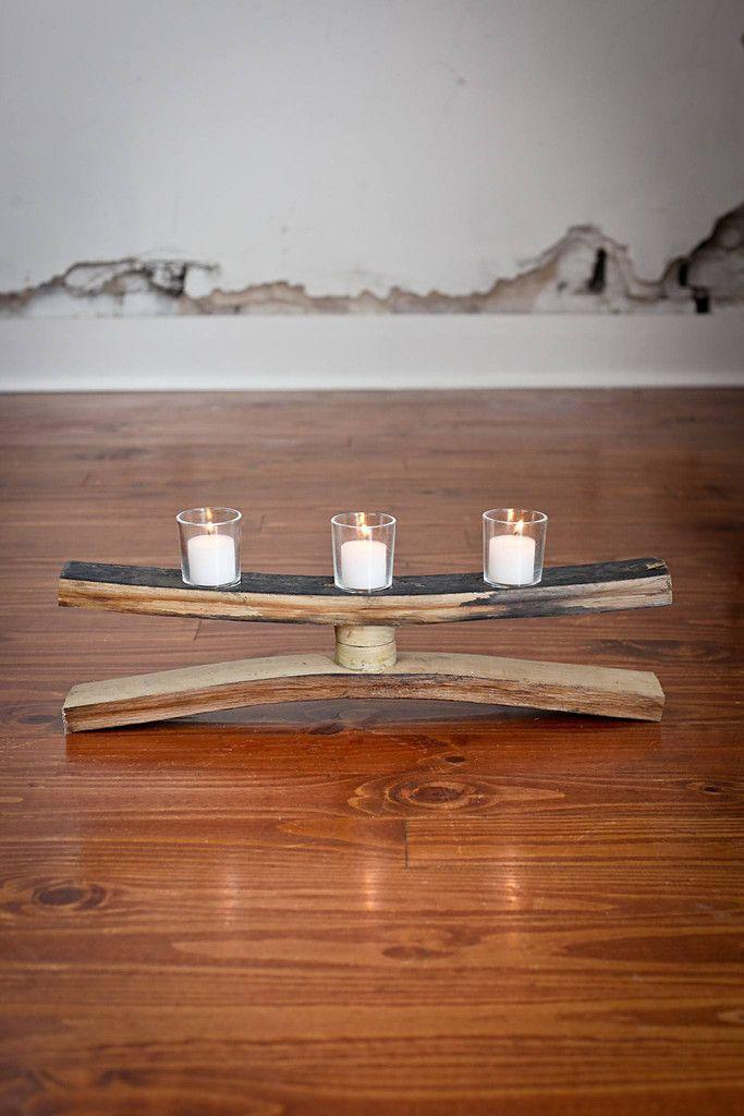 Bourbon Barrel Stave Candle Holder 55