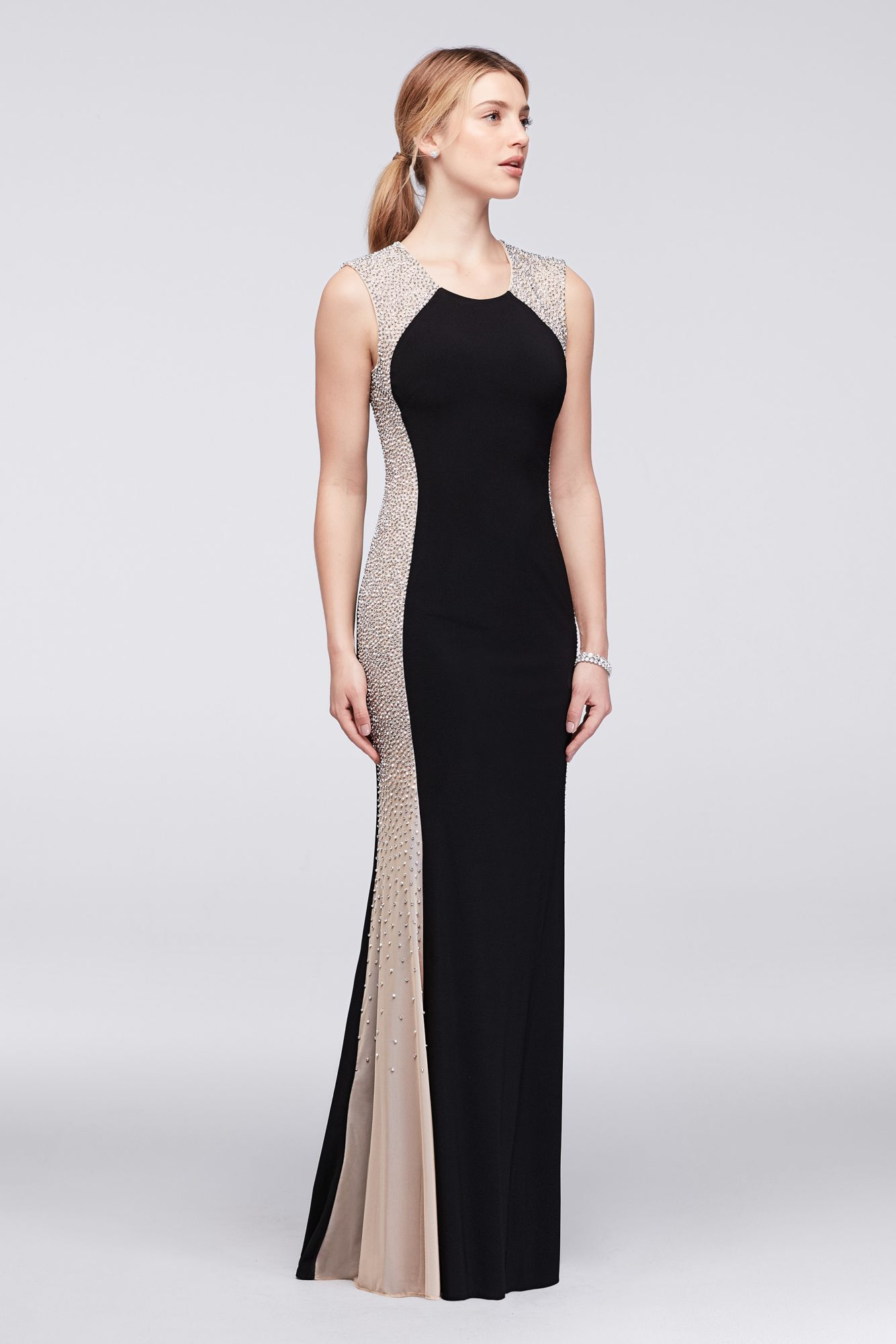 Shinning long beaded illusion jersey gown style xs dresses for