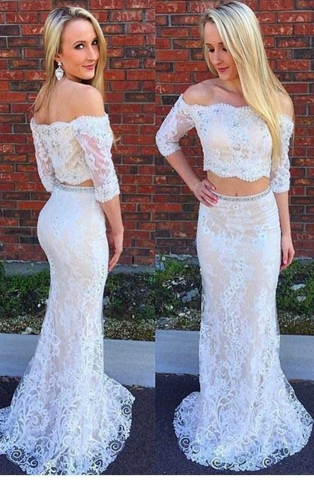 4a21bc677631a6 Off The Shoulder Ivory Lace Two Piece Mermaid Prom Dresses With Half ...