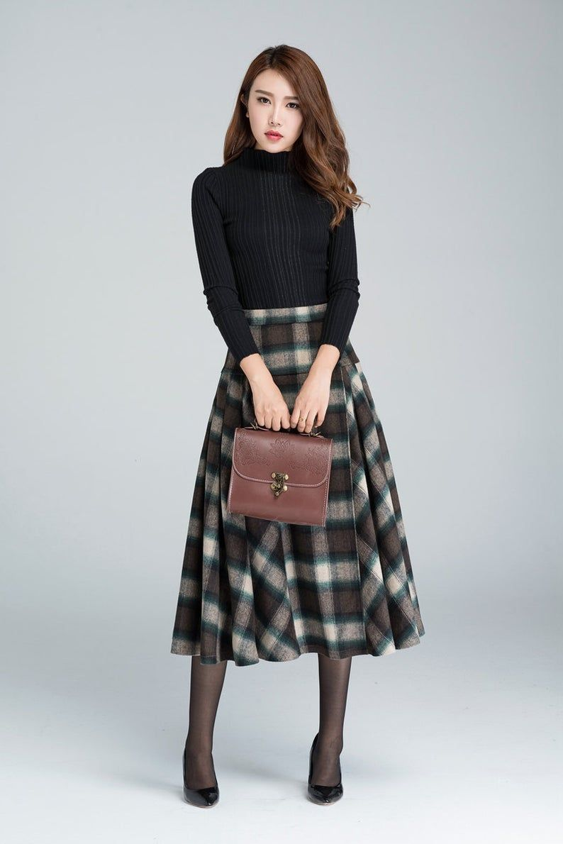 Vintage plaid skirt, Wool skirt, pleated skirt, winter skirt, 50s skirt, midi skirt, warm winter skirt, tartan skirt, women skirts 1626#
